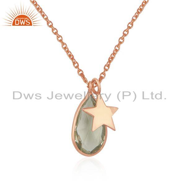 Rose gold plated silver lemon topaz gemstone pendant jewelry