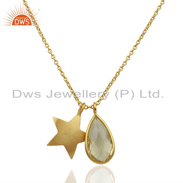 18k gold plated sterling silver star charm and lemon topaz pendant with chain