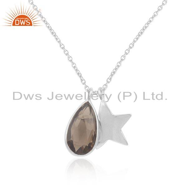 Smoky quartz gemstone star charm 925 silver handmade pendant supplier