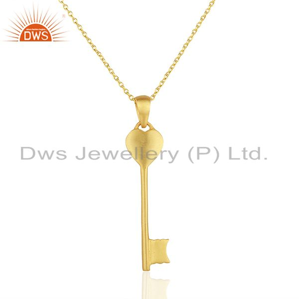 14k yellow gold plated sterling silver heart key charm pendant