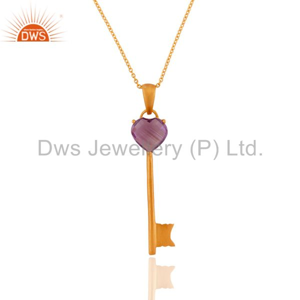 18K Yellow Gold Plated Sterling Silver Amethyst Heart Key Charm Pendant Necklace
