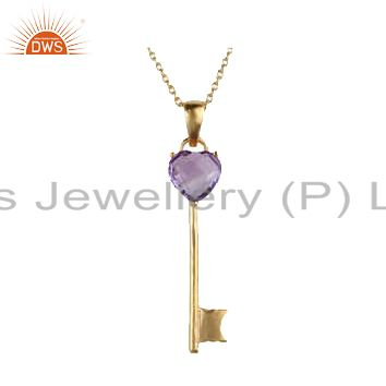 14K Yellow Gold Plated Sterling Silver Natural Amethyst Heart Key Charm Pendant
