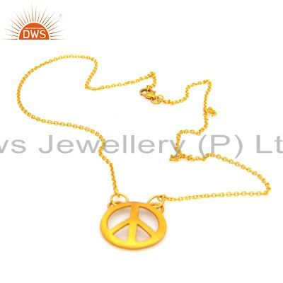 14k yellow gold plated sterling silver peace sign pendant with chain