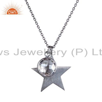 925 Sterling Silver Crystal Quartz And Star Charm Pendant With Chain