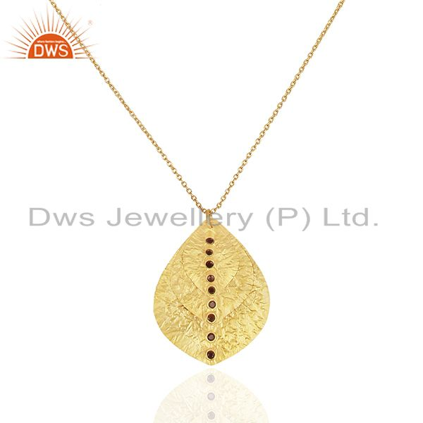 24k yellow gold plated sterling silver smoky quartz triple petals pendant chain