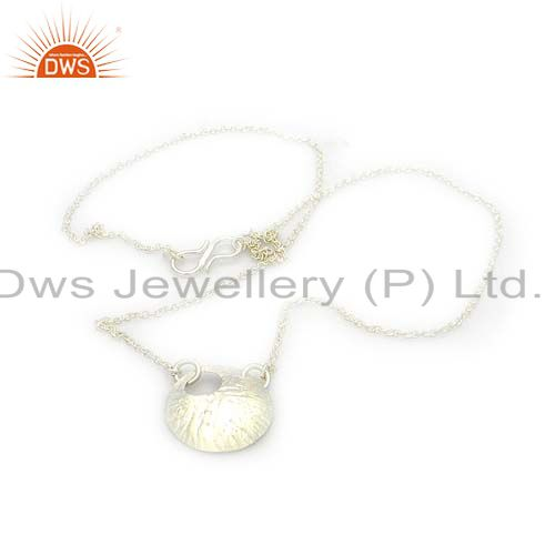 Handmade 925 solid sterling silver disc design pendant with chain