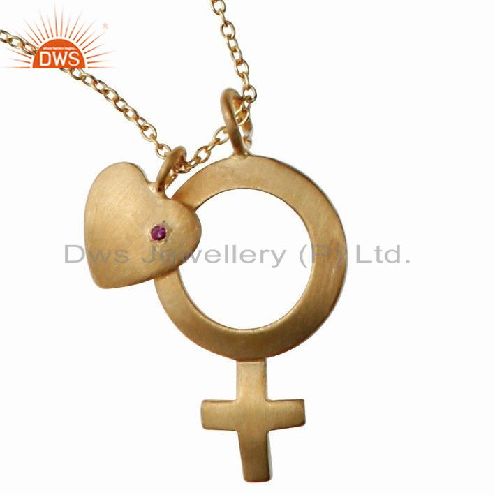 18k gold plated sterling silver ruby heart and cross charms pendant with chain