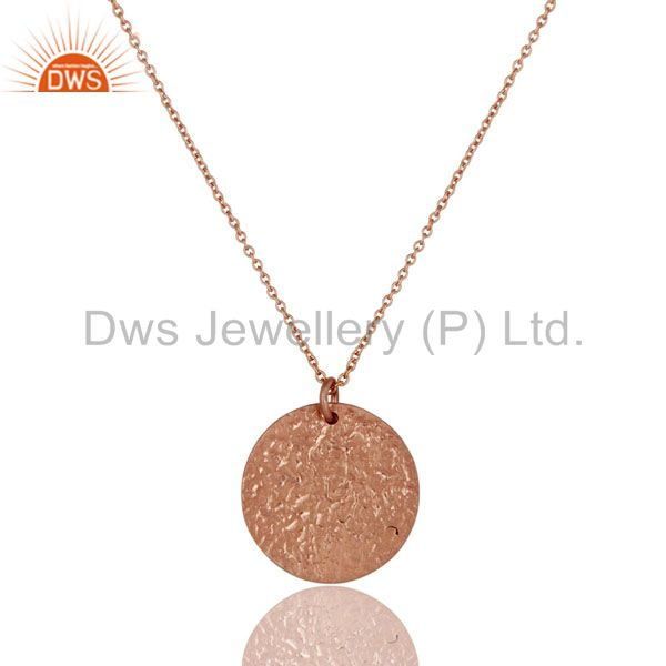 18K Rose Gold Plated Sterling Silver Plain Disc Design Pendant With 31