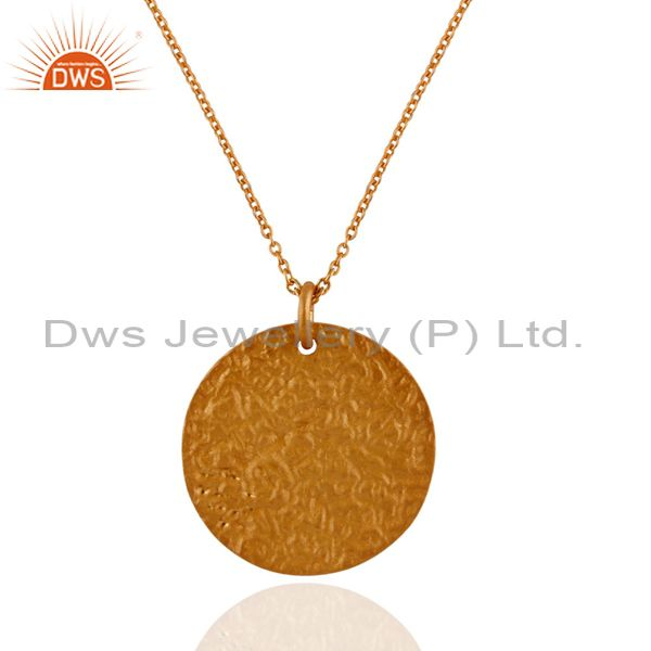 18K Yellow Gold Plated Sterling Silver Disc Design Pendant With Chain