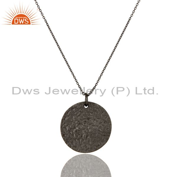 Oxidized Solid Sterling Silver Hammered Disc Design Pendant With Chain