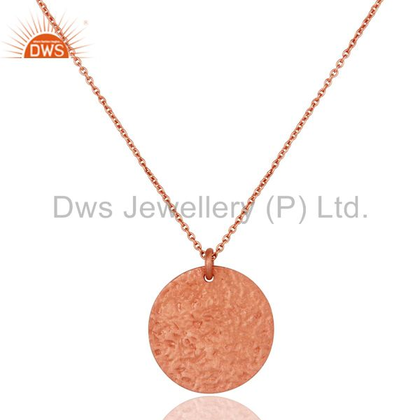 18K Rose Gold Plated Sterling Silver Hammered Coin Charms Pendant With Chain