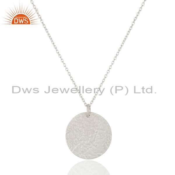 Handmade Solid Sterling Silver Hammered Coin Charms Pendant With Chain