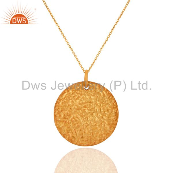 18K Yellow Gold Plated Sterling Silver Plain Disc Design Pendant With Chain