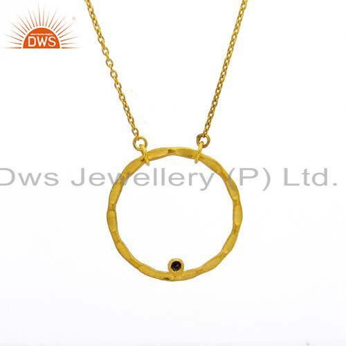 18K Yellow Gold Plated Sterling Silver Open Hammered Circle Pendant With Chain
