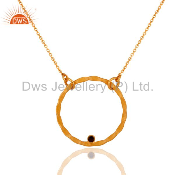 18K Yellow Gold Plated Sterling Silver Smoky Quartz Circle Pendant With Chain