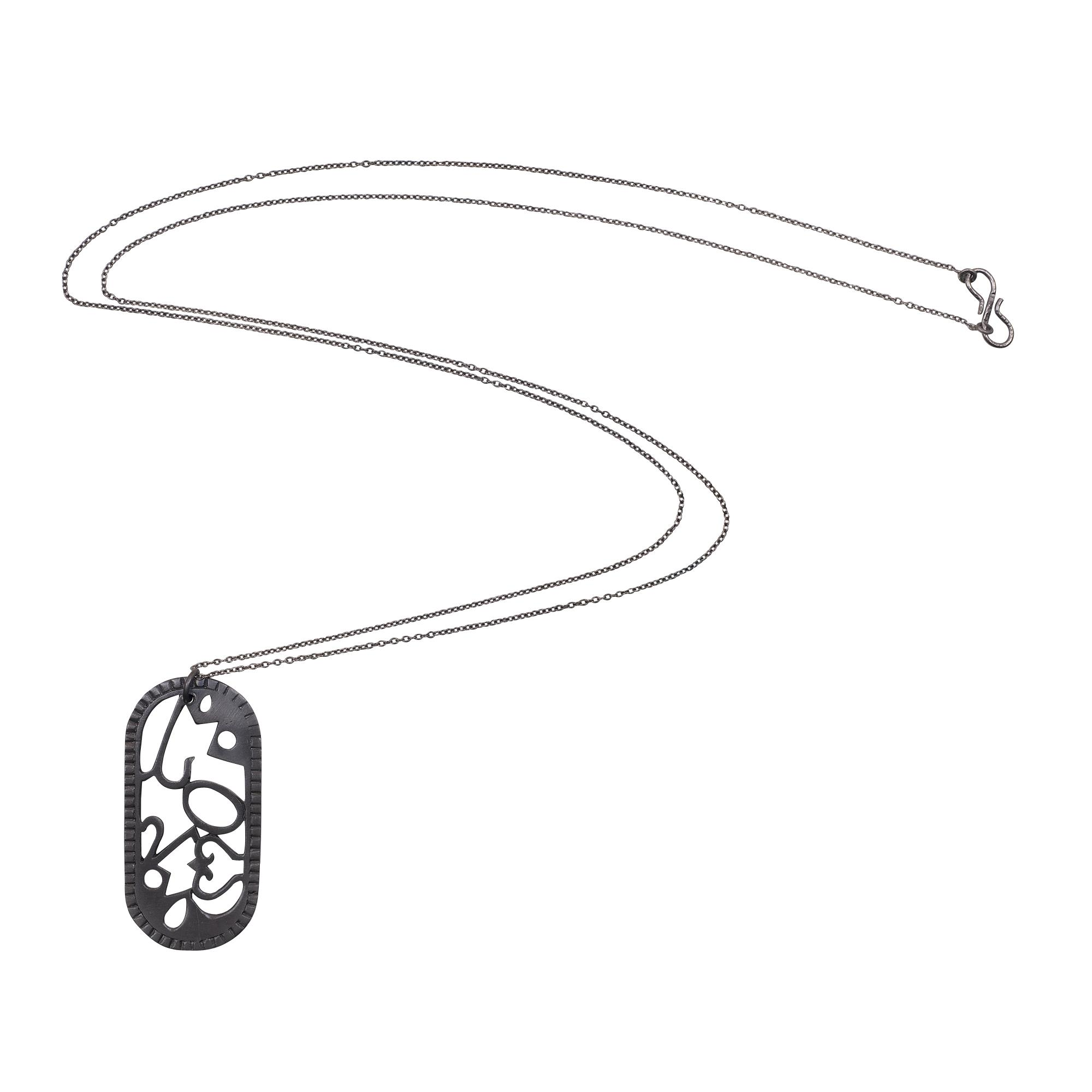 Handmade 925 solid sterling silver oxidized designer pendant with chain