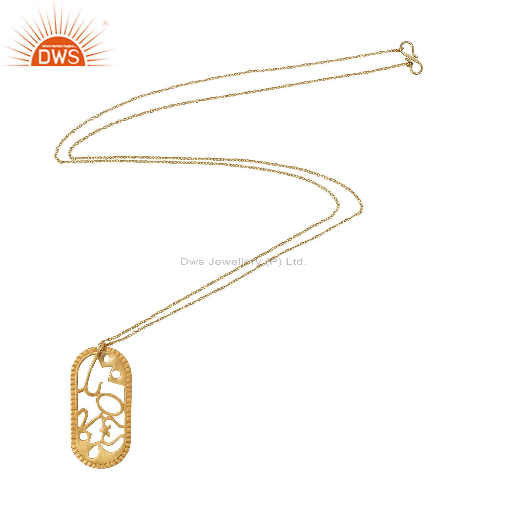 18K Yellow Gold Plated Sterling Silver Designer Pendant With Chain