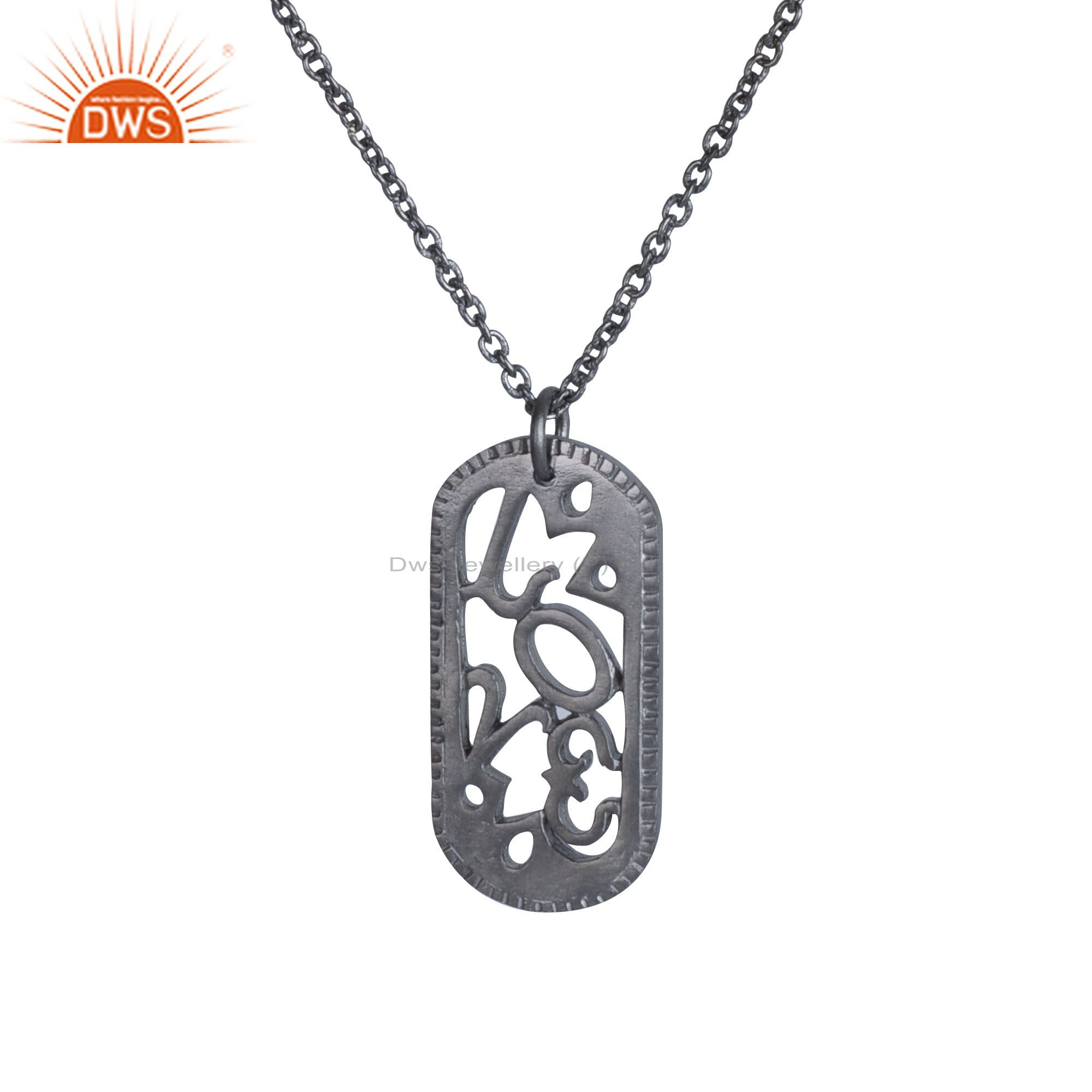 Black rhodium plated solid sterling silver designer oval pendant with chain