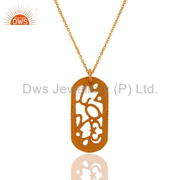 18-Carat Yellow Gold Plated Sterling Silver Handmade Designer Pendant With Chain