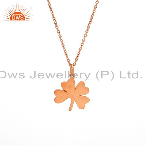 18K Rose Gold Plated Sterling Silver Flower Pendant With Link Chain Necklace