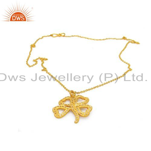 18k yellow gold plated sterling silver white topaz flower pendant with chain
