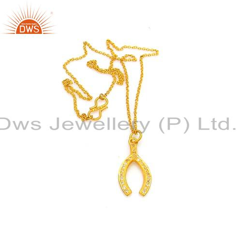 18k gold plated sterling silver white topaz horse shoes charm pendant with chain