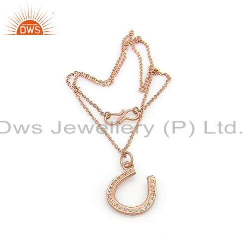 14K Rose Gold Plated Sterling Silver White Topaz Horse Shoes Pendant With Chain