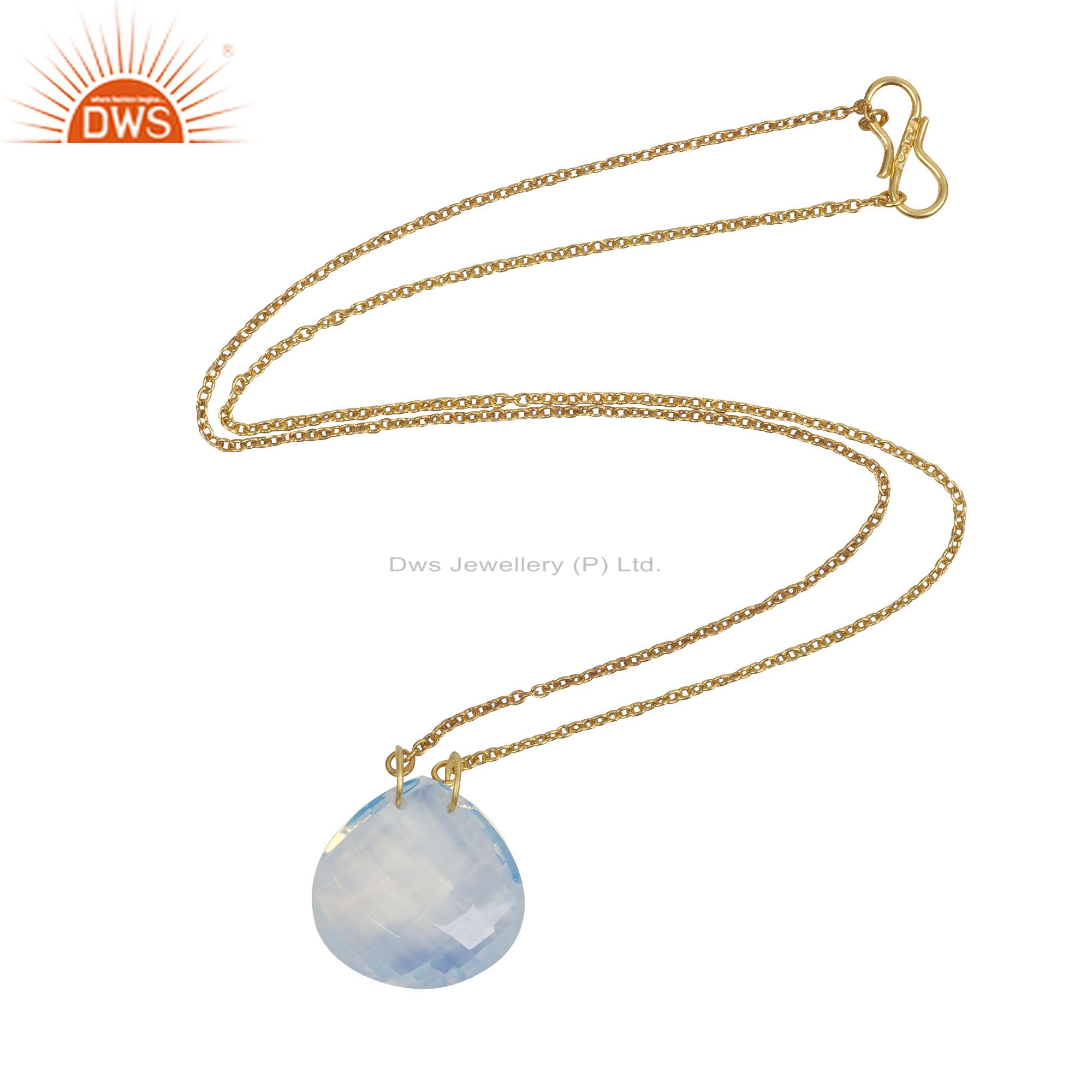18k gold plated sterling silver opalite gemstone pendant chain necklace