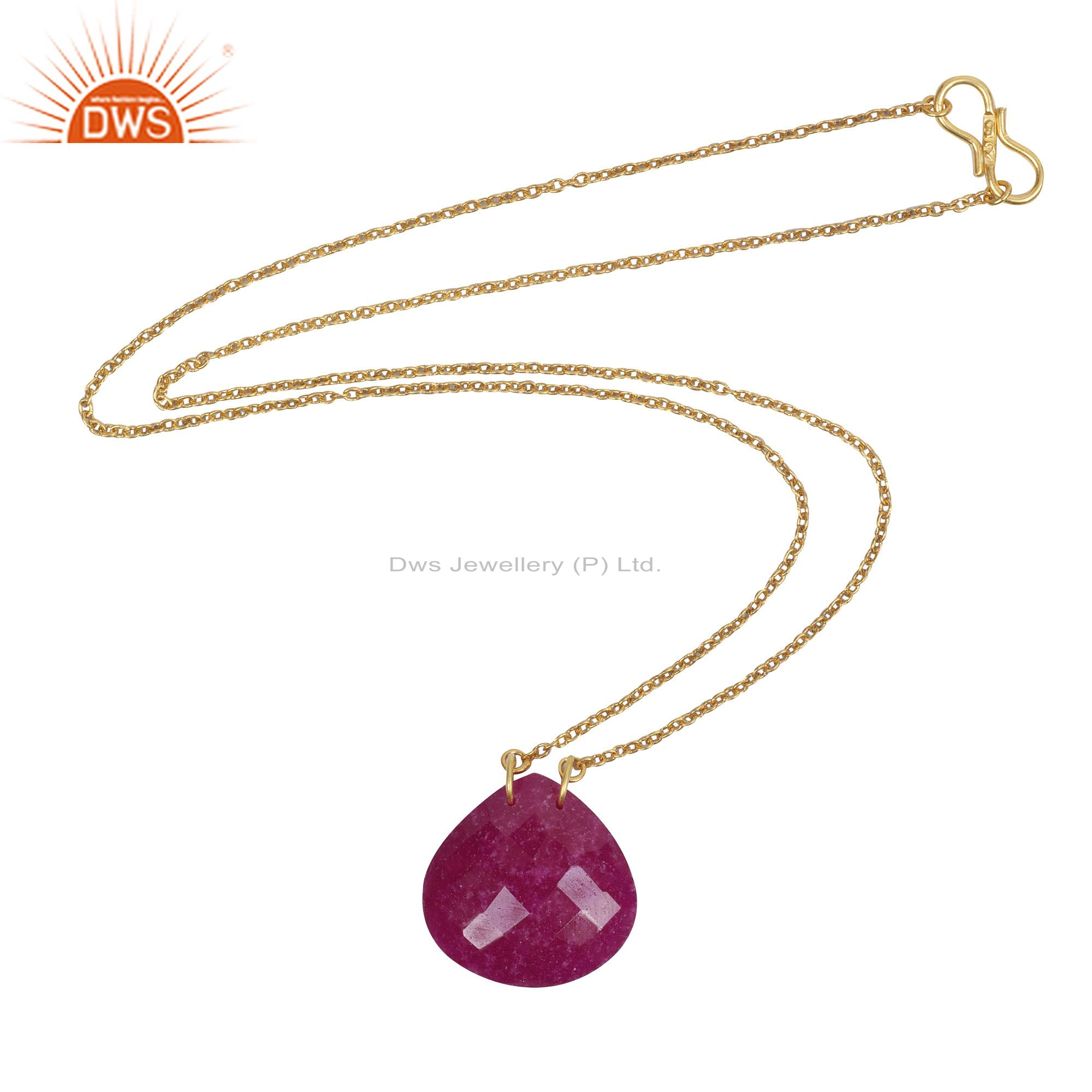 18K Yellow Gold Plated Sterling Silver Ruby Gemstone Pendant Chain Necklace