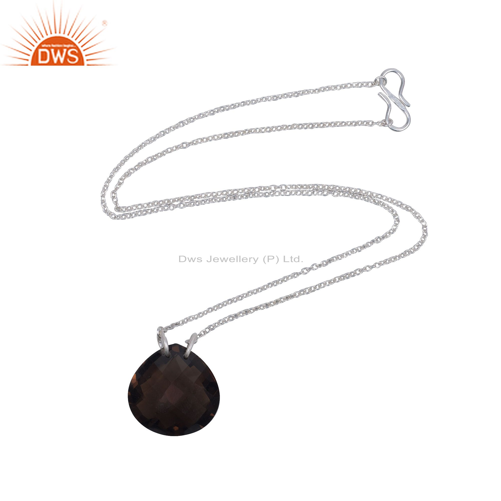 925 Sterling Silver Faceted Smoky Quartz Gemstone Drop Pendant With Chain