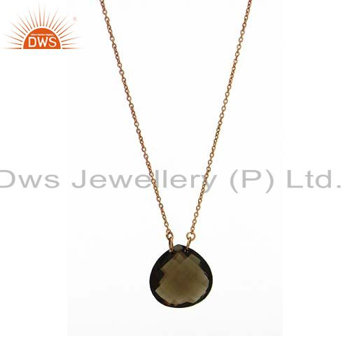 18K Yellow Gold Plated Sterling Silver Faceted Smoky Quartz Pendant With Chain