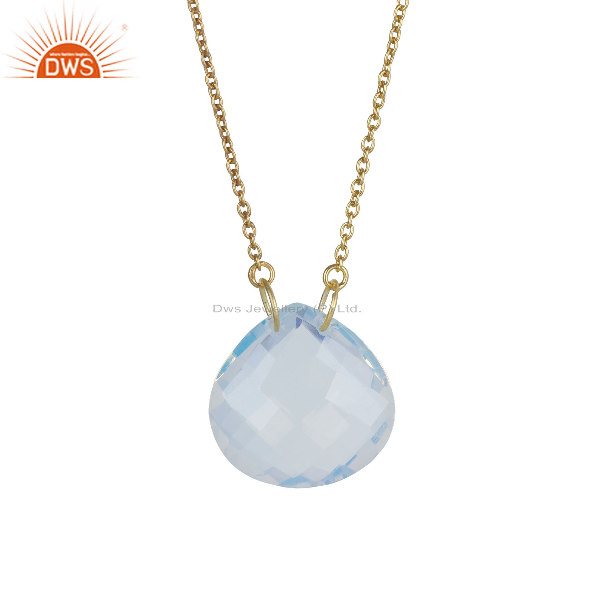18K Gold Plated Sterling Silver Faceted Opalite Gemstone Pendant Chain Necklace