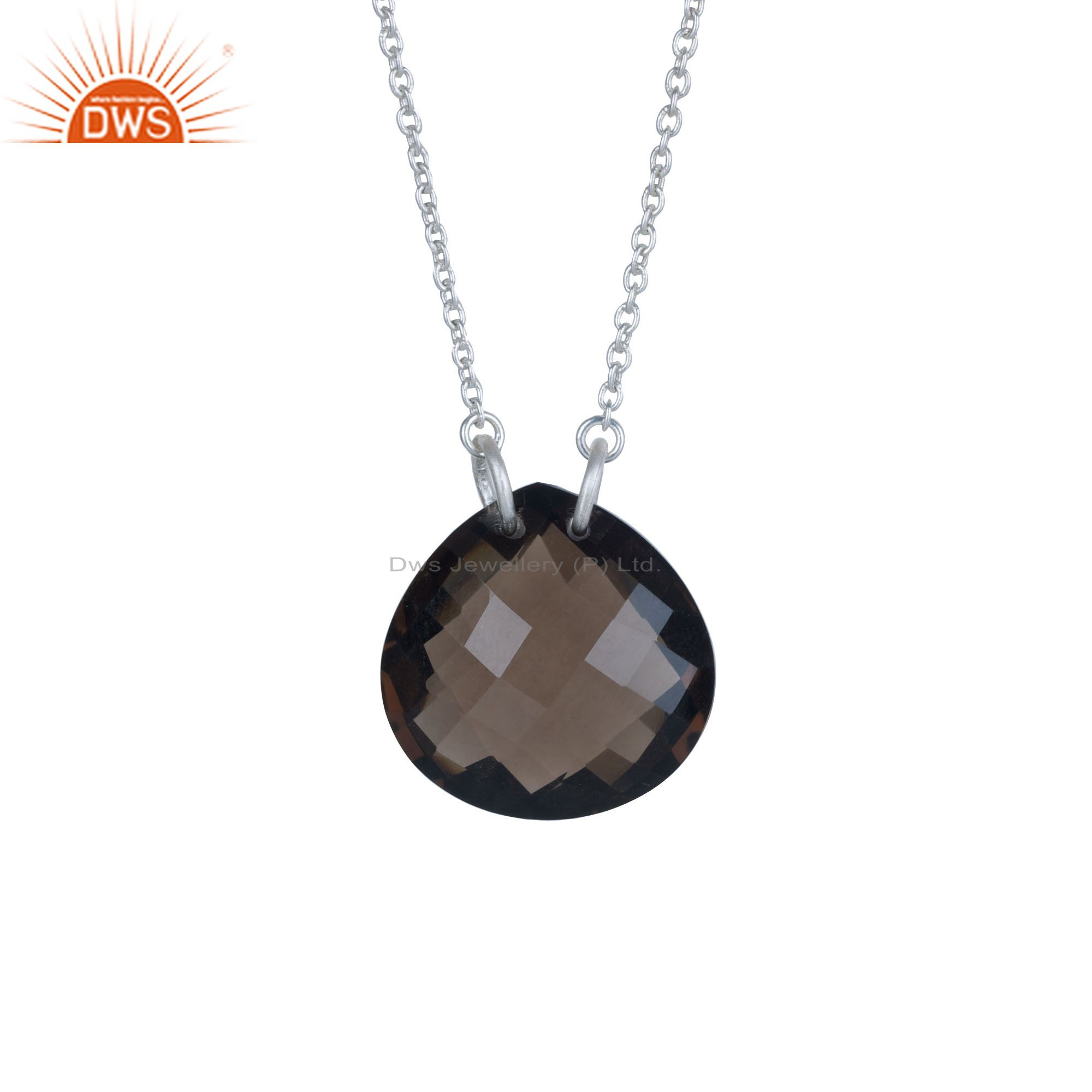 Natural Smoky Quartz Faceted Sterling Silver Gemstone Pendant Chain Necklace