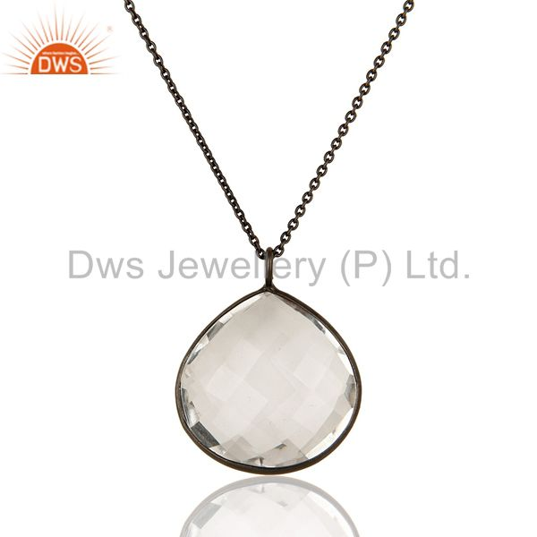 Black Rhodium Plated Solid 925 Silver Crystal Quartz Bezel Set Pendant Necklace