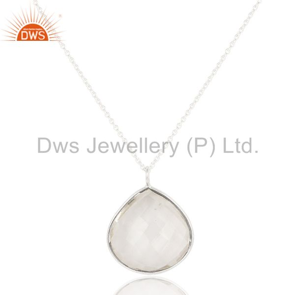 Solid 925 silver plated crystal quartz bezel set chain pendant necklace jewelry