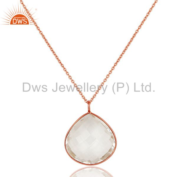 18K Gold Over Sterling Silver Crystal Quartz Bezel Set Drop Pendant With Chain