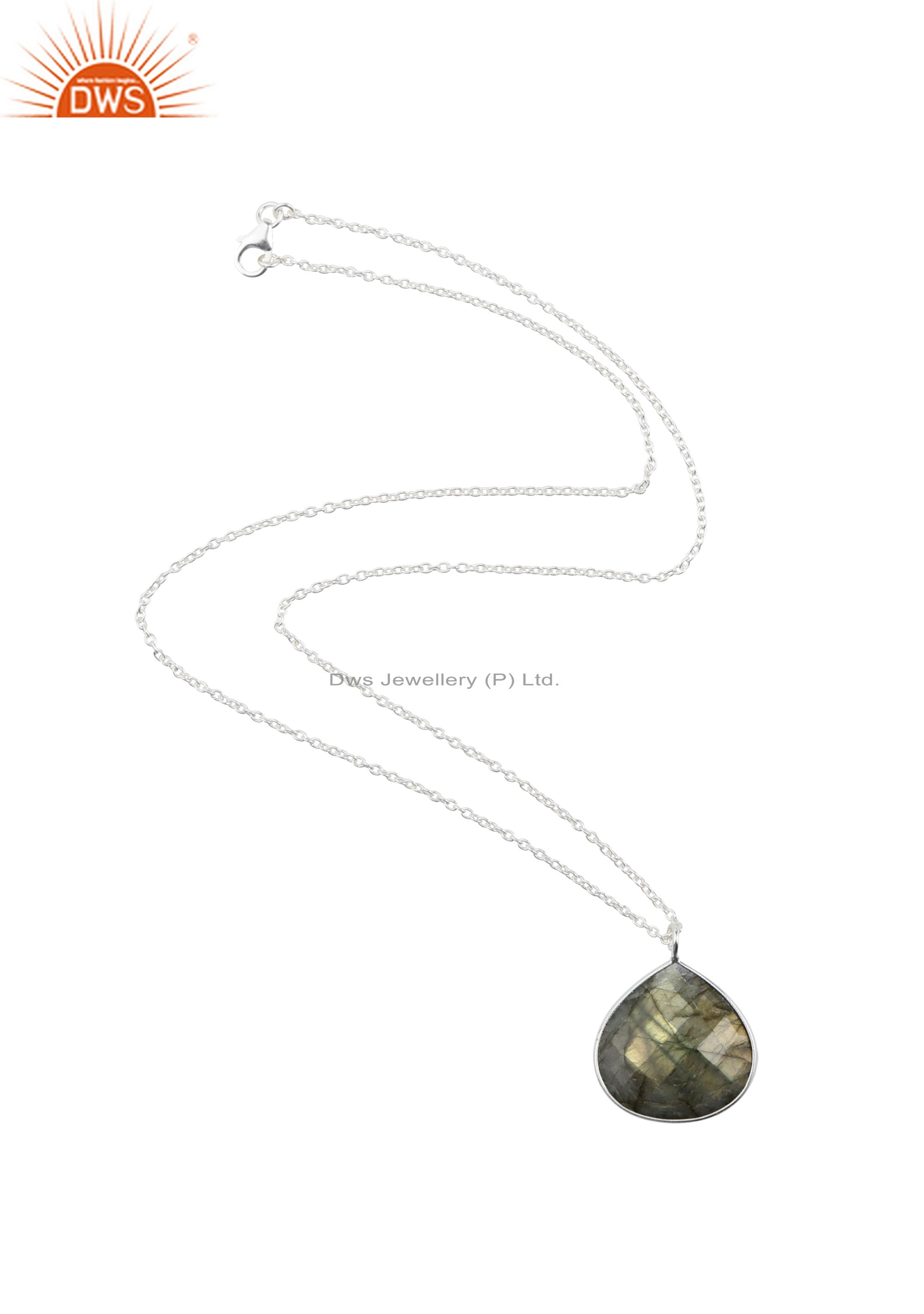 Handmade Sterling Silver Faceted Labradorite Bezel Set Drop Pendant With Chain
