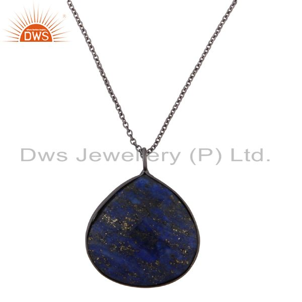 Oxidized Sterling Silver Faceted Lapis Lazuli Bezel Set Drop Pendant With Chain