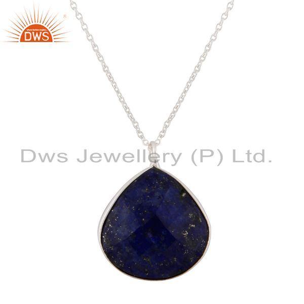 Handmade Sterling Silver Lapis Lazuli Gemstone Bezel Pendant Chain Necklace
