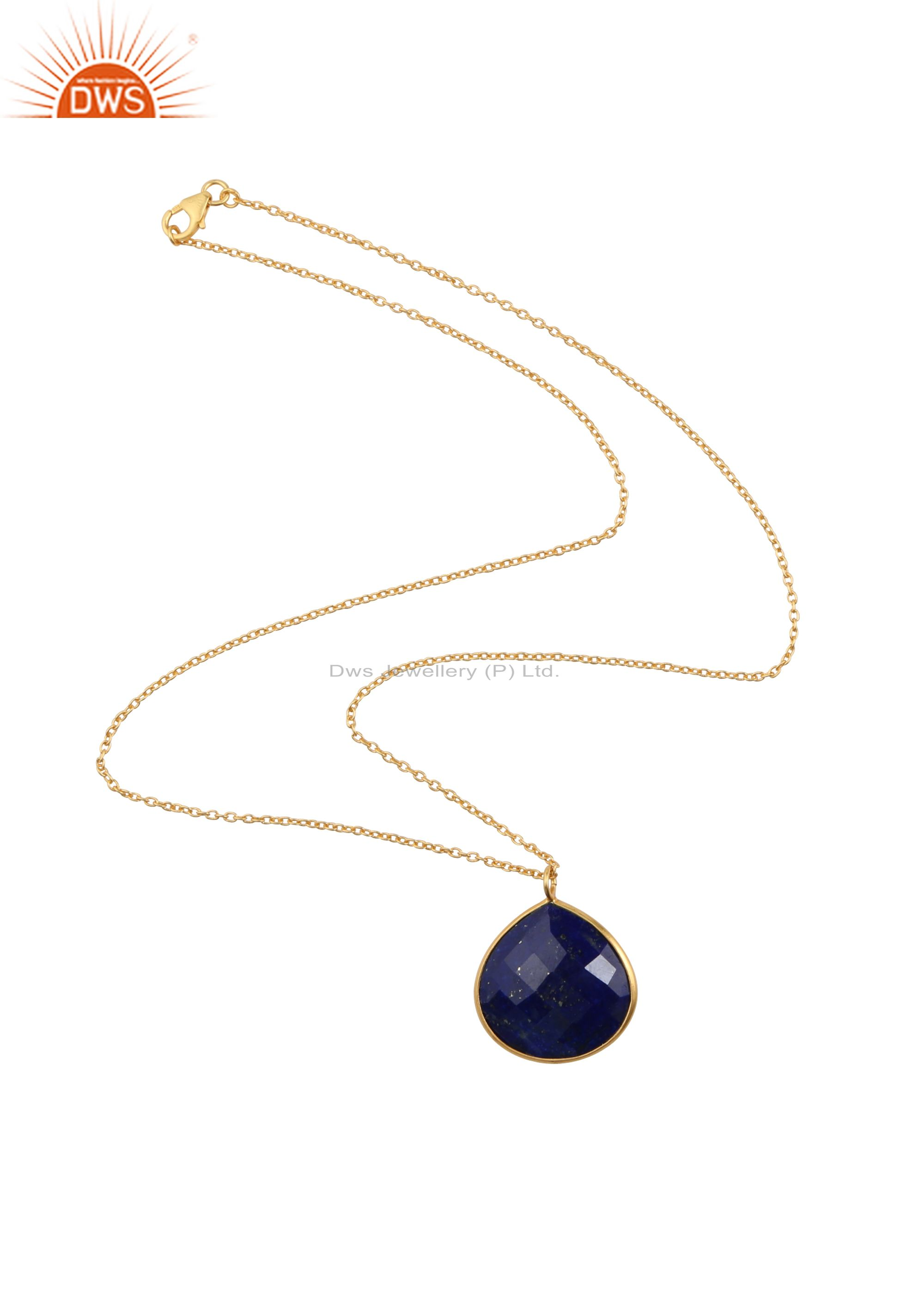22K Yellow Gold Plated Sterling Silver Lapis Lazuli Bezel Set Pendant With Chain