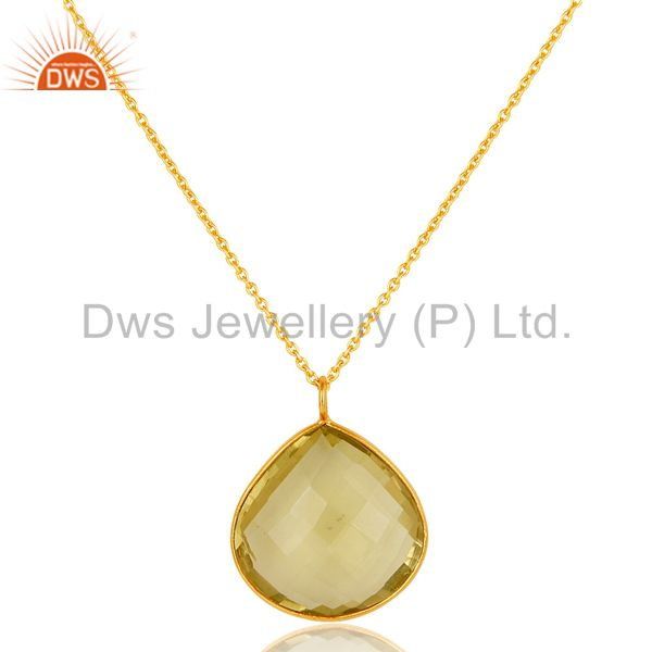 Natural Lemon Topaz Faceted Gemstone Sterling SIlver Rhodium Plated Pendant 31
