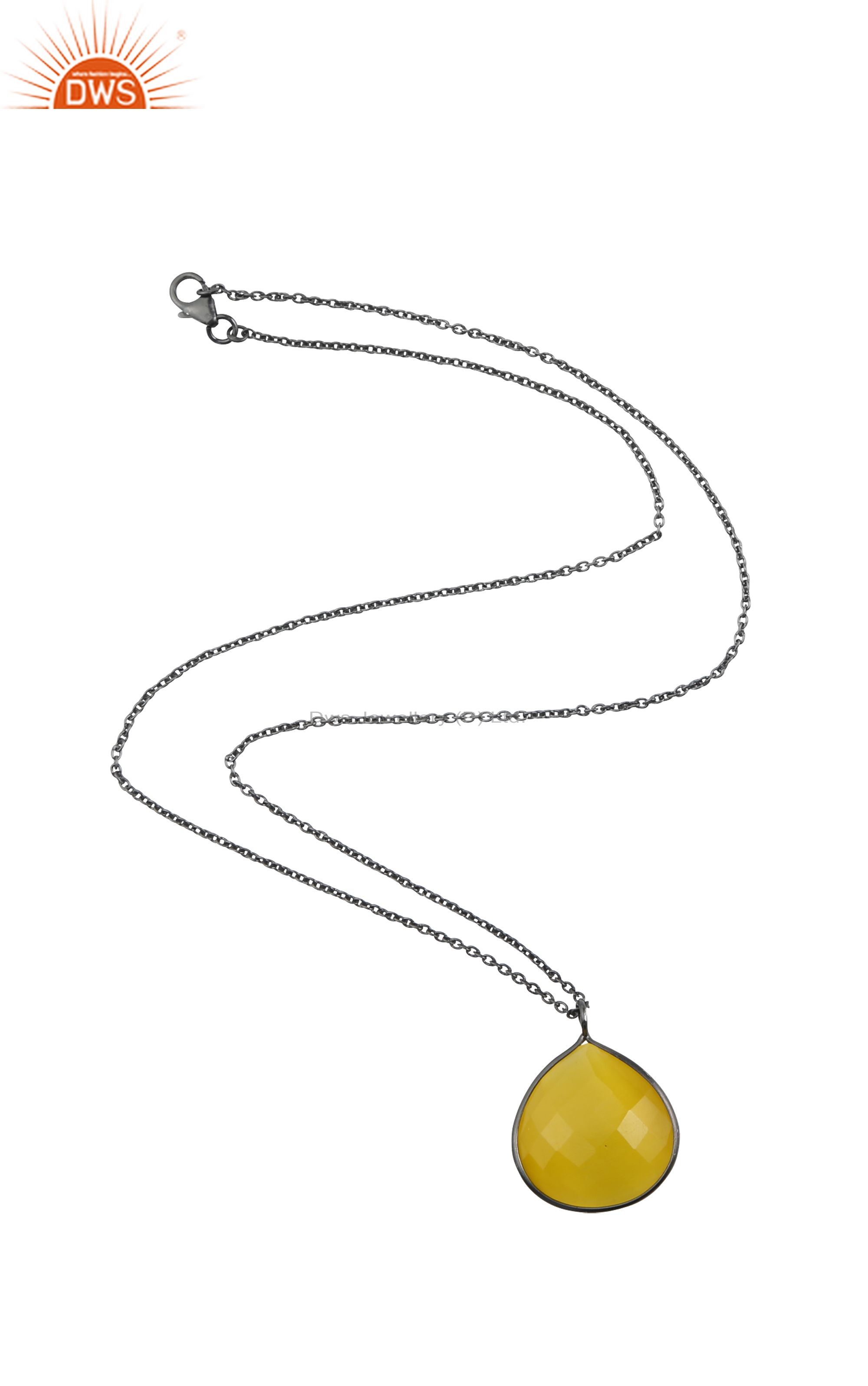 Oxidized sterling silver yellow moonstone bezel set pendant with chain