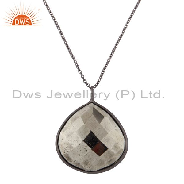 Oxidized sterling silver faceted pyrite bezel set drop pendant with chain