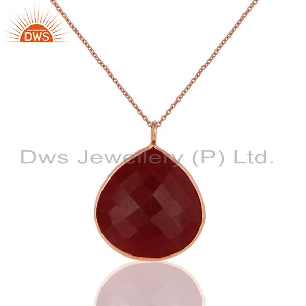 18K Rose Gold Plated Sterling Silver Dyed Ruby Bezel Set Drop Pendant With Chain