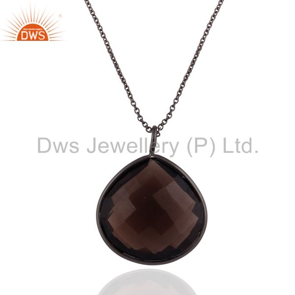 Black Rhodium Plated Sterling Silver Natural Smoky Quartz Drop Pendant With Chai