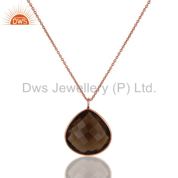 18K Rose Gold Plated Sterling Silver Smoky Quartz Bezel Set Pendant With Chain