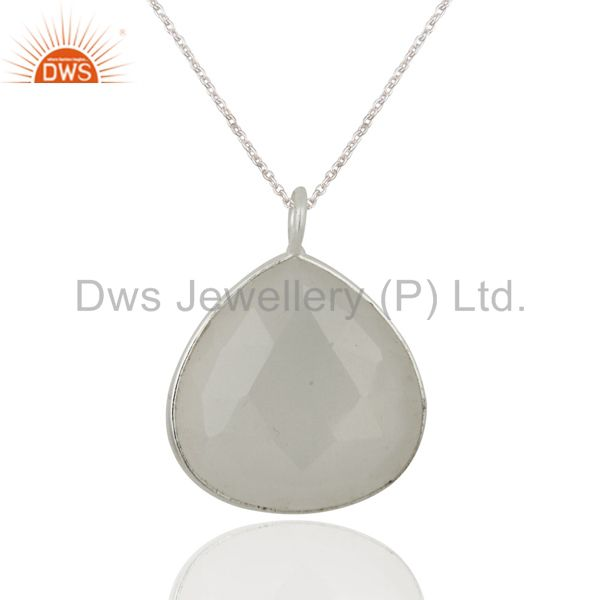 Handmade White Moonstone Bezel-Set Sterling Silver Pendant With Chain