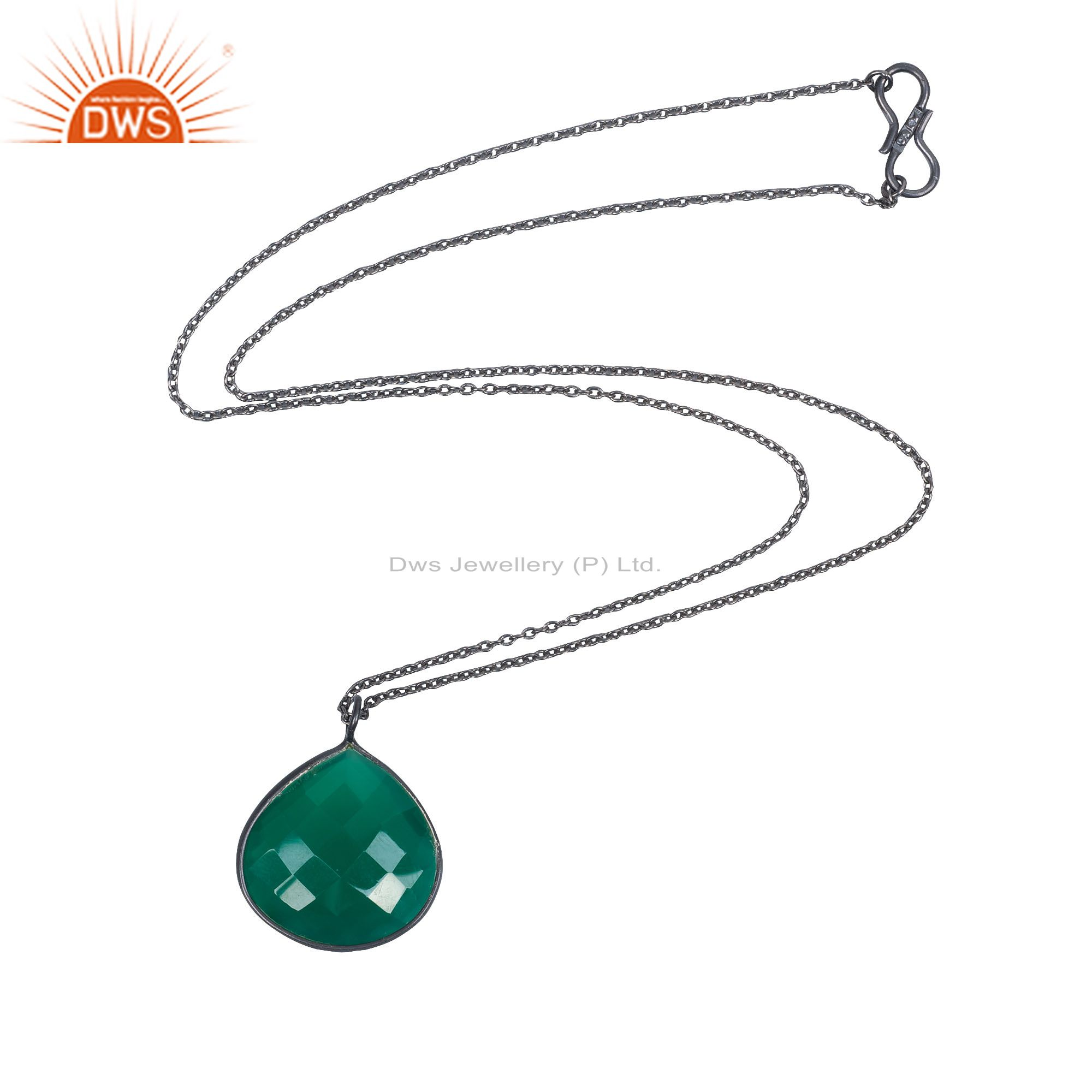 Oxidized solid sterling silver faceted green onyx bezel set pendant with chain