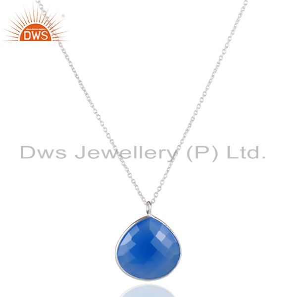 925 Sterling Silver Blue Chalcedony Gemstone Bezel Set Pendant With Chain