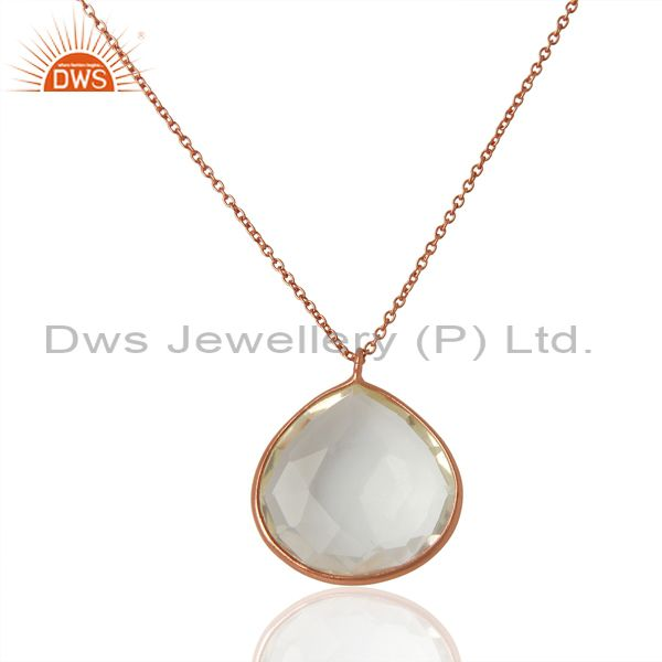 Rose Gold Plated Sterling Silver Crystal Quartz Bezel Set Pendant W/ Chain
